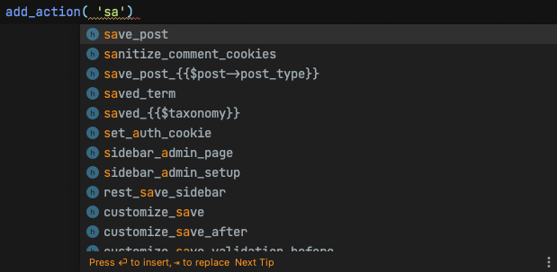Автодополнение WordPress хуков в PhpStorm.